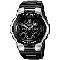 Baby-G Watch, Women's Analog Digital Black Resin Strap BGA110-1B2 ($99) ❤ liked on Polyvore