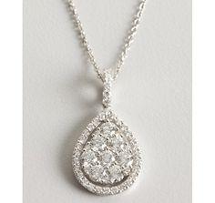 Armadani white gold and diamond teardrop pendant necklace