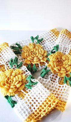 Crocheted Doilies Trio Square Set Flower Floral Vintage Yellow White Green. $12.75, via Etsy.