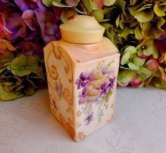 Beautiful Limoges Porcelain Hand Painted Artist Signed Tea Caddy ~ Gold Gilt #Limoges