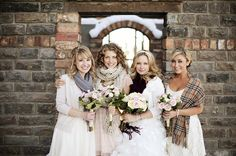 Bridesmaids in Scarves - Read more on One Fab Day: http://onefabday.com/bride-and-bridesmaids-cover-up-ideas/