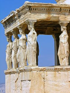 The Caryatids (all are different) on the south porch of the Erechtheion (420 BC), Athens, Greece    A caryatid is a sculpted female figure serving as an architectural support taking the place of a column or a pillar supporting an entablature on her head.