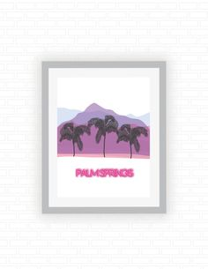 Palm Springs  Calfornia vacation postcard  hot pink by ColorFiles