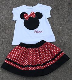 For Keira's first Disneyland trip! Minnie Mouse skirt and custom shirt RED by alisonhaley1 on Etsy, $39.00