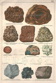 LARGE Vintage Antique Print 1878 MINERALS by VintageInclination, $55.00