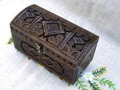 Jewelry box Ring box Wooden box Wood carving boxes by HappyFlying