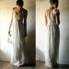 Gold Wedding dress Sequin wedding dress Boho wedding by larimeloom
