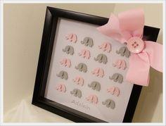 3D ELEPHANT Art in Framed Shadow Box -- Custom Baby Girl Room Decor, nursery wall art, kids wall art, baby nursery. $40.00, via Etsy.
