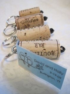 Wine cork keychains for a wedding favor.