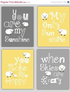 Kids Art, You are my Sunshine with Lamb, set of four Prints, Children's Wall Art