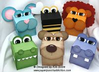 Animal treat boxes designed by Kim Score - for purchase 3d Paper Projects, 3d Paper Crafts, Craft Projects, Paper Punch Art, Punch Art Cards, Craft Punches, Craft Box, Kids Cards, Baby Cards