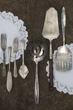 Vintage silver...pie fork, butter knives, serving pieces