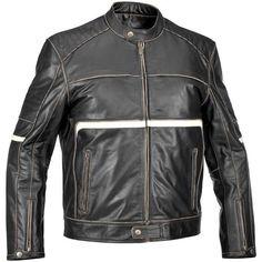 Compacc.com  River Road Victor Vintage Leather Jacket - Black White Front View