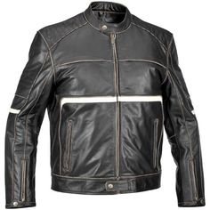 Compacc.com  River Road Victor Vintage Leather Jacket - Black White Front View