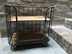 Kleine industriële kast trolley kar schap bakkersrek bakkerskar rek metaal houten planken