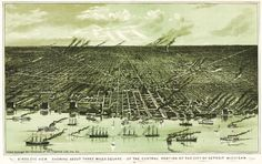 Print (Detroit, Michigan - (1889) - Panoramic Map)