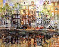 'Amsterdam' Amazing new painting with gold leaf from Veronika Benoni.