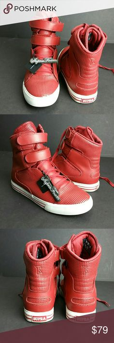 SUPRA TK SOCIETY RED/WHITE MEN'S SNEAKERS VERY CLEAN INSIDE-OUT   SKE # OOPO Supra Shoes Sneakers