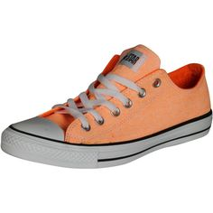 Converse Unisex Chuck Taylor Low Top Canvas Sneakers Neon Orange 7 ($57) ❤ liked on Polyvore featuring shoes, sneakers, converse footwear, plimsoll shoes, converse trainers, plimsoll sneakers and fluorescent shoes