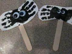 Preschool Halloween Art - Handprint Spiders