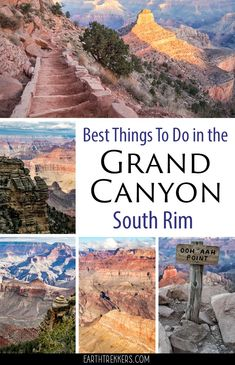 Grand Canyon: best things to do on the South Rim. Hike the Bright Angel Trail, hike the South Kaibab trail, visit the best viewpoints, take a helicopter flight, ride bikes along Hermit Road, and more. Get suggestions on how to plan your time and tips to have the best experience. #grandcanyon #nationalpark #hiking #familytravel