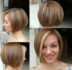 Chin-length bob with highlights