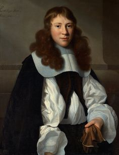 Isaack Luttichuys, portrait of a young men with gloves, 1661