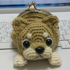 茶柴Japanese shiba inu 色合いも良いと思うのですが、いかがでしょう? #amigurumi #crochet #dog #handmade #shibainu #あみぐるみ #柴犬 #がま口