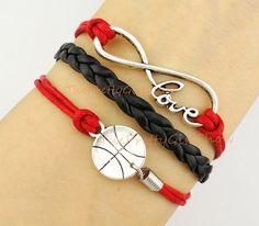 Infinity Wish, I Love Basketball, Love, Charm Bracelet in Silver, Red, Black, Sport's Bracelet, Customize, Friendship, Bridesmaid Gift