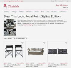 """FOCAL POINT STYLING featured on Chairish as a merchandising tool - Feature called """"Steal this Look"""" -  THRIFTED CHIC: BLACK & WHITE LIVING ROOM"""