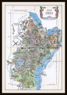 Vintage East Africa Map Jacques Liozu