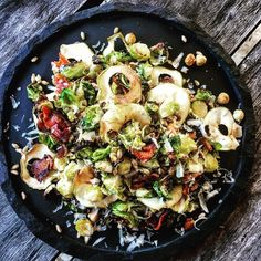 Winter Roasted Brussels Sprout Salad With Crispy Bacon, Apple, Hazelnuts and Farro. So delicious and satisfying I'll be posting to my blog as a 5-2 fast day idea. #thepaddingtonfoodie #fdbloggers #feedfeed #52diet #sydneyfood #fastdayfood #bacon #brusselssprouts #hazelnuts #wintersalad #comingtomyblog