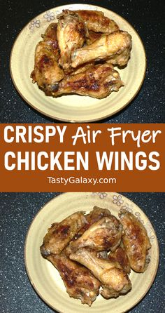 CRISPY Air Fryer Chicken Wings are so easy to make! Air fry chicken wings are so easy to make crispy and they are so delicious! It is so easy to make air fried wings, click for best air fried chicken wings recipe #airfryer #chicken #wings Best Chicken Wing Recipe, Yummy Chicken Recipes, Yum Yum Chicken, Meat Recipes, Dinner Recipes, Healthy Recipes, Turkey Recipes, Delicious Recipes, Recipies