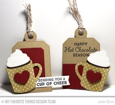 Hug In a Mug, Hot Cocoa Cups Die-namics, Tag Builder Blueprints 4 Die-namics - Julie Dinn #mftstamps