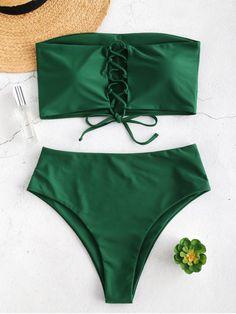 Lace-up High Rise Bandeau Bikini Set - Medium Sea Green - Bra and Bikinis Trendy Swimwear, Cute Swimsuits, Cute Bikinis, Swimwear Fashion, Bikini Fashion, Bandeau Bikini Set, Bikini Swimwear, Bikini Types, Cute Bathing Suits