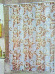 SEASHELL Fabric Shower Curtain with MATCHING SEASHELL HOOKS - PALE BLUE