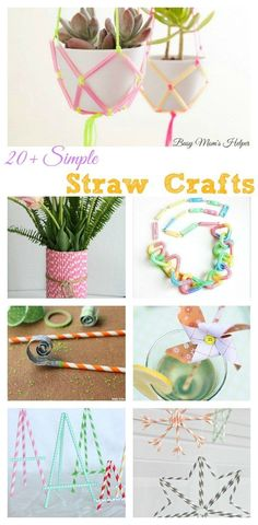 20 Simple Straw Crafts / by Busy Mom's Helper Diy Straw Crafts, Plastic Straw Crafts, Upcycled Crafts, Cute Crafts, Sewing Crafts, Recycled Art, Arts And Crafts For Adults, Easy Arts And Crafts, Crafts For Girls