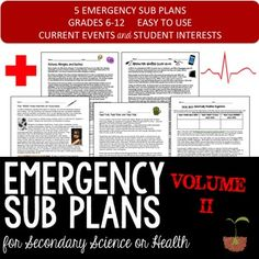 Secondary Science Sub Plans volume II - TeachersPayTeachers.com