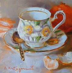 "Daily+Paintworks+-+""Daffodil+Cup+and+Citrus""+-+Original+Fine+Art+for+Sale+-+©+Elena+Katsyura"