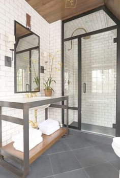 Absolutely stunning bathroom........Beautiful Shades Of Grey Against The Trusty White Subway\/ Metro Tile......