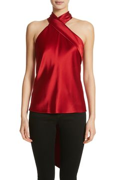 This luminous style features a slender sash that wraps across the front and drips down the back, creating a refined halter-neck silhouette. Red Satin Top, Red Satin Dress, Satin Dresses, Silk Top, Galvan, Diy Dress, Top Designer Brands, Holiday Dresses, Halter Neck