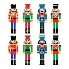 Christmas Nutcracker Soldier Figurines by RedKoala Vector icons set of Xmas nutcrackers statues isolated on white FEATURES: 100 Vector Shapes All groups have names All elements ar Nutcracker Image, Nutcracker Crafts, Nutcracker Christmas Decorations, Nutcracker Soldier, Christmas Figurines, Illustration Noel, Christmas Illustration, Illustrations, Noel Christmas