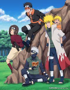 Team Minato grown up. Rin, Obito, Kakashi, Minato and little Naruto! Team Minato, Naruto Comic, Naruto Shippuden Sasuke, Naruto Kakashi, Anime Naruto, Naruto Teams, Naruto Fan Art, Wallpaper Naruto Shippuden, Naruto Cute