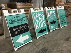 Cross Culture Church (Denver) uses sidewalk signs for Indoor and Outdoor signage for their new church plant church launch.