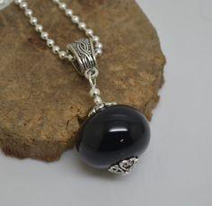 collier 45 cm perles verre filé au chalumeau noir chaine argent 925 collier rose : Collier par liloo-creations