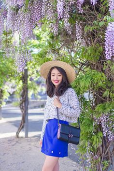 SPRING OUTFIT POST: Amongst the wisteria in electric blue.     See more on: http://www.kisforkani.com/2015/10/wisteria/
