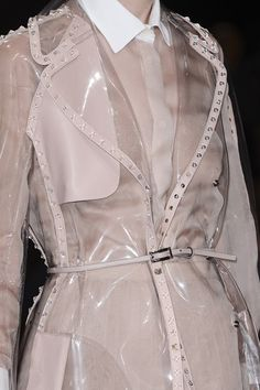 Chiffon shirt & clear plastic coat with studded leather trim; fashion details // Valentino S/S 2013