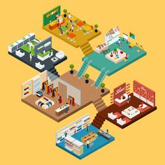 Buy Shopping Mall Isometric Concept by macrovector on GraphicRiver. Mall Isometric icon set with conceptual map of multistory shopping center with different floors and areas vector i. Web Design, Game Design, Graphic Design, Isometric Map, Isometric Design, Interior Rendering, Information Design, Shopping Mall, Shopping Center