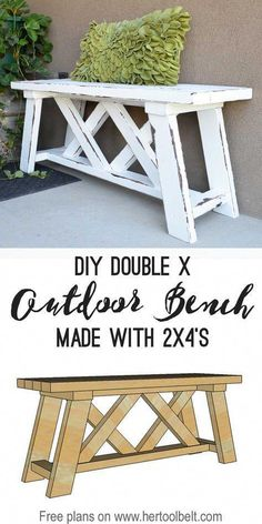 Diy Furniture - Double X Bench Plan - 14 Awesome DIY Backyard Ideas to Finalize Your Outdoors Lo.