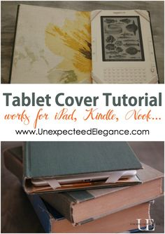 See how easy it is to make your own diy iPad, Kindle or Nook cover using an old book! Step by step tutorial available.  Perfect for gifts.